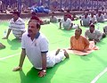 The Minister of State for Culture (IC) and Environment, Forest & Climate Change, Dr. Mahesh Sharma performing Yoga, on the occasion of the 4th International Day of Yoga 2018, in Kolkata on June 21, 2018 (2).JPG