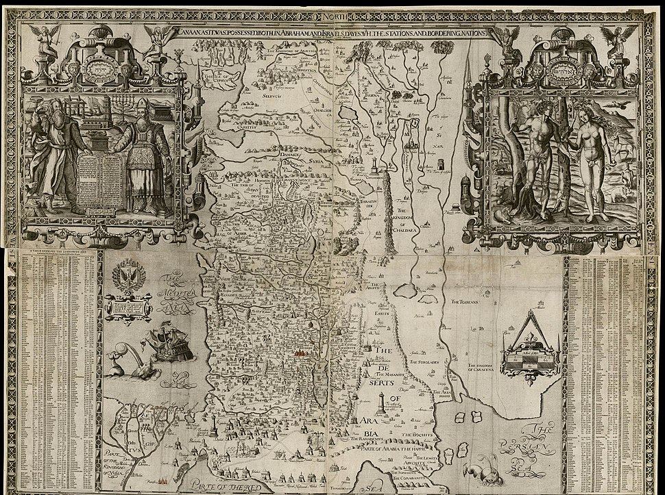 The National Library of Israel - Canaan as it was possessed both in Abraham and Israels dayes with with the stations and bordering nations