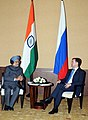 The Prime Minister, Dr. Manmohan Singh and the President of the Russian Federation, Mr. Dmitry A. Medvedev, in a bilateral meeting, on the sidelines of BRICS Summit, at Sanya, China on April 13, 2011 (1).jpg