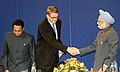 The Prime Minister, Dr. Manmohan Singh shaking hands with the Prime Minister of Finland, Mr. Vanhanen at the closing session of India-EU Business Summit in Helsinki, Finland on October 12, 2006.jpg