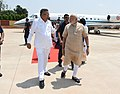 The Prime Minister, Shri Narendra Modi being welcomed by the Chief Minister of Chhattisgarh, Dr. Raman Singh, on his arrival, at Jagdalpur, Chhatisgarh on April 14, 2018 (1).jpg