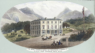 The Royal Victoria Hotel And Mountains Llanberis. 8 Miles from Carnarvon, north Wales