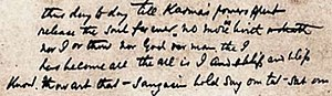 The Song of the Sannyasin - A portion of the manuscript in Vivekananda's own handwriting.