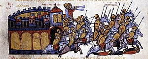 Alusian of Bulgaria - After its unsuccessful attack on Thessalonica, the Bulgarian army under Alusian flees. Miniature from the Skylitzes Chronicle.