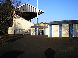 Goldenacre Sports Ground - Turnstiles and grandstand adjacent to the rugby pitch