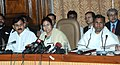 The Union Minister for Railways, Kumari Mamata Banerjee interacting with the media persons after presentation of Railway Budget 2011-12, in New Delhi on February 25, 2011.jpg