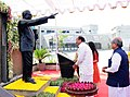 The Vice President, Shri M. Venkaiah Naidu offering floral tributes to the Statue of Dr. B. R. Ambedkar, in the premises of Dr. Babasaheb Ambedkar Open University, in Ahmedabad.jpg