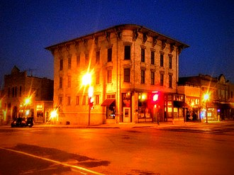 Columbus, Wisconsin - Whitney Building at night