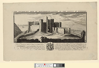 The south east view of Mannorbeer Castle, in the county of Pembroke