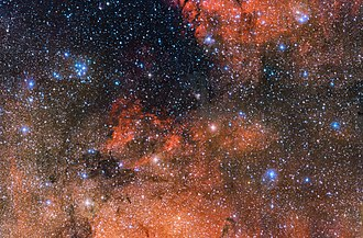 Messier 18 - Image: The star cluster Messier 18 and its surroundings