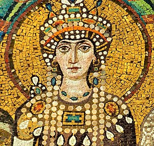 Theodora (6th century) - Theodora, detail of a Byzantine mosaic in the Basilica of San Vitale, Ravenna