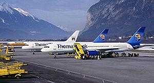 Thomas Cook and Monarch 757s at Innsbruck Wedelstaedt.jpg