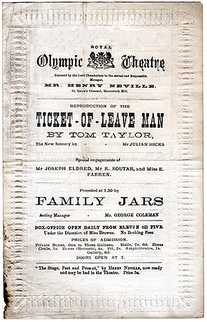 Tom Taylor - Revival of The Ticket-of-Leave Man, starring Nellie Farren