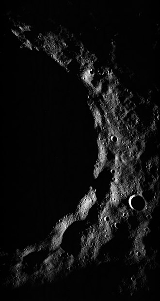 Terminator (solar) - The east side of Timocharis crater while at the terminator (from Apollo 15)