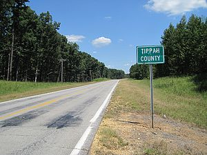 Tippah County, Mississippi - Image: Tippah County MS sign 002