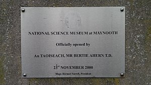 National Science Museum at Maynooth - Plaque at entrance