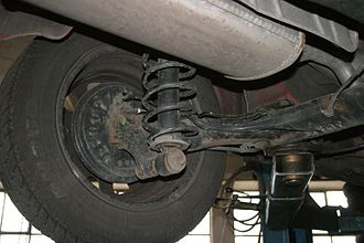 Twist-beam rear suspension - Twist-beam rear suspension of a Volkswagen Golf Mk3