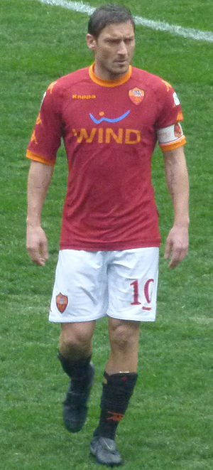 Roma captain and attacking midfield playmaker Francesco Totti. Totti 2011 crop.jpg