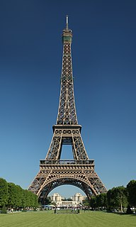Tower located on the Champ de Mars in Paris, France