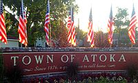 Town of Atoka Sign, Atoka, Tennessee.JPG