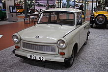 Small white Trabant in a museum