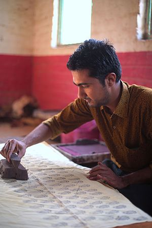 Textile printing - Bagh Print Traditional hand block print craft  in Village Bagh Madhya Pradesh, India.