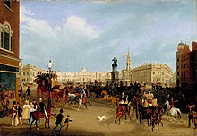A painting by James Pollard showing the square