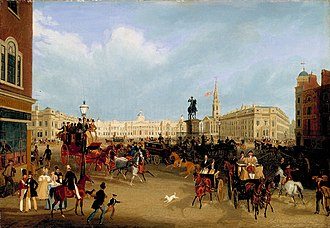 Trafalgar Square - A painting by James Pollard showing the square before the erection of Nelson's Column