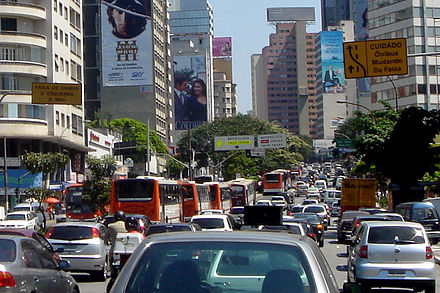 Traffic congestion persists in Sao Paulo, Brazil, despite the no-drive days based on license numbers. Traffic jam Sao Paulo 09 2006 30.JPG