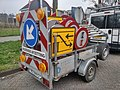 Trailer filled with traffic signs to redirect incoming traffic, Winschoten (2018).jpg