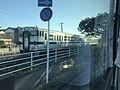 Train of Karatsu Line from bus near Kuribashi Bridge.jpg