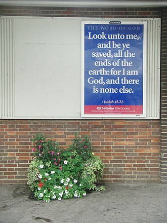Trinitarian Bible Society - Poster produced by the Society at Chichester Railway Station, West Sussex in 2011.