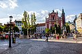 Triple Bridge Leading to Preseren Square and the Franciscan Church in Ljubljana, Slovenia (35733772744).jpg