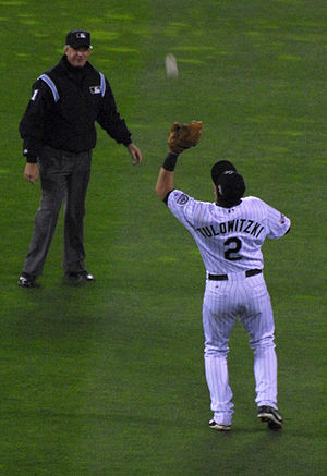 Troy Tulowitzki -  Tulowitzki catching a pop-up in game four of the 2007 World Series