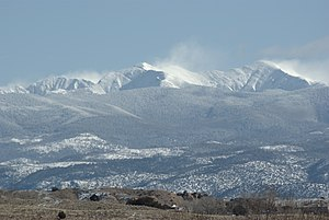 Pecos Wilderness - Truchas Peaks from Espanola in winter.  The peaks are the highest mountains in the Pecos Wilderness.