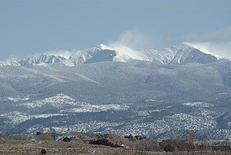 Rio Arriba County, New Mexico - Truchas Peaks in winter, viewed from Espanola