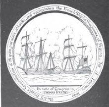 The reverse of a Congressional Gold Medal, depicting two frigates engaging each other in combat.
