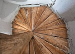Tudor staircase, Madingley Hall, Cambridgeshire, from below.jpg