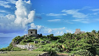 Tulum - Temple of the God of Wind (left) and Castillo (right)