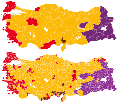 Turkish general election 2015, provinces and districts.png