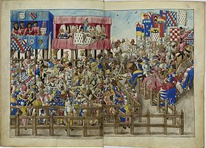Tournament (medieval) - The tournament in progress (René d'Anjou), only the banners of Bourbon and Brittany are left in the field, the individual knights' banners are seen to the right.