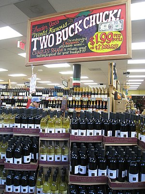 Charles Shaw wine - Charles Shaw wine displayed in a Trader Joe's grocery market.