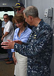 U.S. Navy Capt. Thomas M. Negus, right, commodore of Continuing Promise 2010 (CP10), talks with U.S. Ambassador to Costa Rica Anne S. Andrew, center, during a tour of the amphibious assault ship USS Iwo Jima 100821-M-PC721-247.jpg
