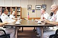 U.S. Navy Vice Adm. Matthew L. Nathan, U.S. Navy surgeon general and chief of the Bureau of Medicine and Surgery, meets with Japanese navy Rear Adm. Shigeki Yanagida, surgeon general and director of Medicine 130723-N-YA302-038.jpg
