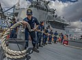 U.S. Sailors handle a mooring line aboard the guided missile destroyer USS Gravely (DDG 107) before departing Larnaca, Cyprus, May 15, 2013, after a port visit 130515-N-KA046-040.jpg