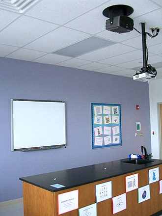 Union City High School - A science classroom equipped with an overhead projector and a SMART Board