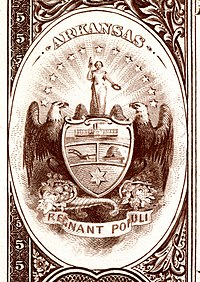 Arkansas state coat of arms from the reverse of the National Bank Note Series 1882BB