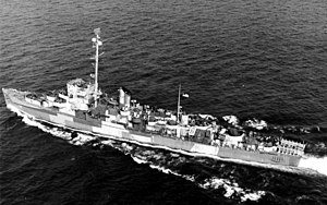 USS Edsall (DE-129), overhead underway, after 1945 refit, before transfer to Pacific.