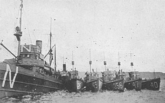 North Sea Mine Barrage - USS Eider (Minesweeper No. 17) (left) in port with submarine chasers alongside during the clearance of the North Sea Mine Barrage in 1919.  The leftmost submarine chaser is either SC-254, SC-256 or SC-259 and the others are (left to right) SC-45, SC-356, SC-47, and SC-40.