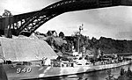 USS Manley (DD-940) on the Kiel Canal, Germany, circa in 1957.jpg